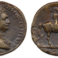 Fig. 1. A bronze sestertius commemorating Domitian, thought to depict on its reverse the equestrian statue from the Forum Romanum.  SC in the exergue denotes approval by the Senate of Rome. The obverse bears a portrait of Domitian in profile. British Museum 1978.1021.5 Source: BMC 476, https://www.britishmuseum.org/research/collection_online/collection_object_details.aspx?objectId=1200561&partId=1&images=true