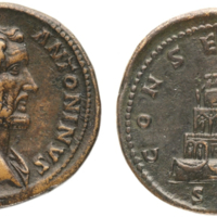 Figure 3. Bronze sestertius commemorating the deification of Antoninus Pius minted by Marcus Aurelius, 161 C.E. The obverse bears the portrait of Divus Antoninus and the reverse an image of the funerary pyre with the legend CONSECRATIO SC. New York, American Numismatic Society, 1944.100.48314, 29.25 g, 35 mm (source: ANS numismatics.org).