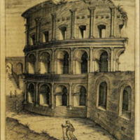 View of the Amphitheatrum Castrense<br /> A print image depicting the remains of the amphitheater with its three storey articulation (source: Donati 1725)